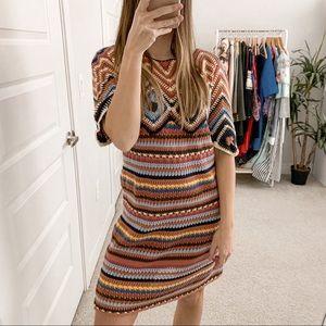 See By Chloe Crochet Knit Short Sleeve Dress Multi